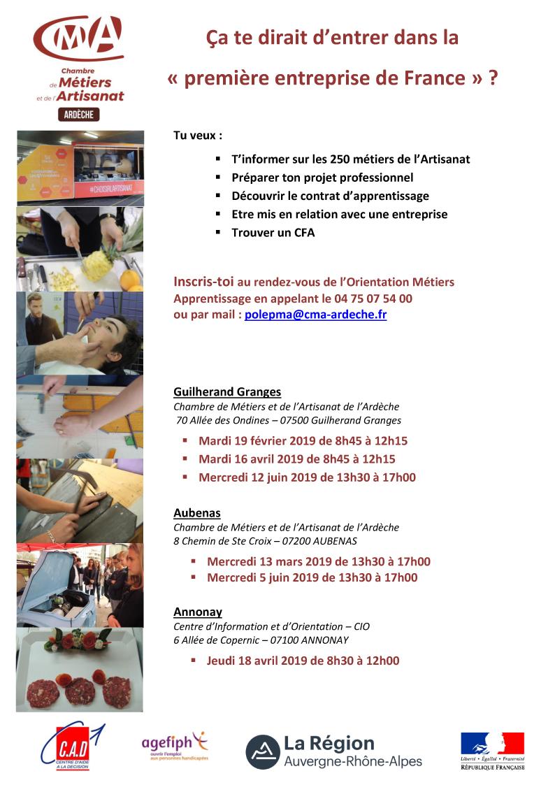 Ateliers D Orientation Metiers De L Artisanat Et Apprentissage Chambre De Metiers Et De L Artisanat De L Ardeche